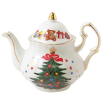 Collectible Christmas Gold Leafed Miniature Teapot