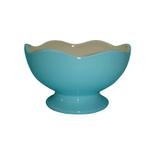 Talisman Designs Ceramic Scalloped Edge Blue and White Entertaining Pedestal Bowl
