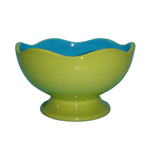 Talisman Designs Ceramic Scalloped Edge Green and Blue Entertaining Pedestal Bowl