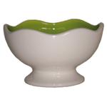 Talisman Designs Ceramic Scalloped Edge White and Green Entertaining Pedestal Bowl