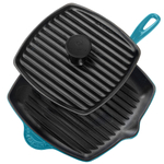 Le Creuset 2 Piece Caribbean Enameled Cast Iron Panini Press and Skillet Grill Set