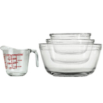 Anchor Hocking Glass Mixing Bowls and 8 Ounce Liquid Measuring Cup Set