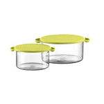 Bodum Hot Pot 2 Piece Glass Bowl Set with Green Silicone Lids