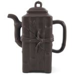 Yixing Clay Zisha Tall Bamboo Design Teapot 12 Ounce