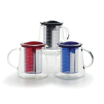 Blue Glass Tea Control Teapot with Brew Stop Infuser