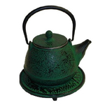 Japanese Tetsubin Cast Iron Green Teapot with Trivet