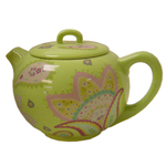 Lime Green Hand Painted Flower 6 Cup Teapot