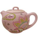 Pink Retro Flower Design 6 Cup Ceramic Teapot