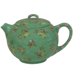 Jade Green Hand Painted Floral 6 Cup Teapot