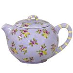 Lavender Hand Painted Floral 6 Cup Ceramic Teapot