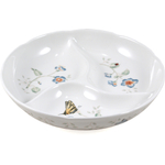 Lenox Butterfly Meadow White Porcelain Divided Tray, 9 Inch