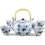 Blue Bamboo Chinese Teapot and 5 Cups