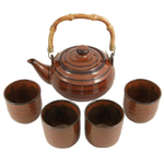 Yixing Ware Iron Red Tea Pot Set with 4 Cups