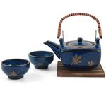 Traditional Japanese Cobalt Blue Tea Set 4 Pieces