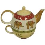 Elephant Hand Painted Tea for One Safari Tea Pot & Cup