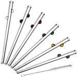 Glass Dharma Decorative Dots 7 Piece Multicolored Glass Drinking Straw Set with Brush, 9.5mm x 9 Inch