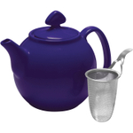 Chantal Indigo Blue Stoneware Tea for Four Teapot, 1.5 Quart