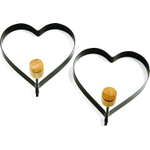 Norpro Nonstick Black Metal Heart Pancake Egg Ring, Set of 2