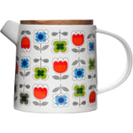Sagaform Blossom White Ceramic and Oak Teapot with Floral Pattern
