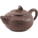 Brown Longhorn Decorative Yixing Teapot, 9 Ounce