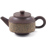 Brown and Yellow Swirls Yixing Teapot, 16 Ounce
