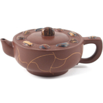 Red Crackled Yixing Teapot with Multi-colored Stones, 8 Ounce