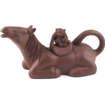 Brown Horse and Monkey Yixing Teapot, 6 Ounce