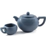 Geometric Teal Yixing Teapot with 4 Teacups, 23 Ounce