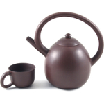 Brown Smooth Modern Yixing Teapot with Swooping Handle and 4 Teacups, 29 Ounce