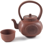 Brown Sunrise Yixing Teapot with 2 Teacups, 26 Ounce
