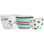 Boston Warehouse Let It Snow Prep Bowl, 3 Piece Set