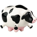 Boston Warehouse Udderly Cows Black and White Earthenware Scrubby Holder
