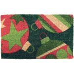 Christmas Ornaments Mid-Thickness Hand Woven Coir Doormat, 18 x 30 Inch