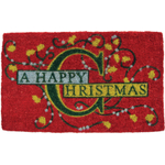 Happy Christmas Mid-Thickness Hand Woven Coir Doormat, 18 x 30 Inch