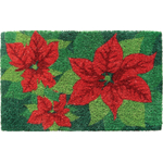 Holiday Poinsettias Mid-Thickness Hand Woven Coir Doormat, 18 x 30 Inch