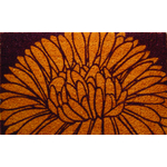 Mums Floral Mid-Thickness Hand Woven Coir Doormat, 18 x 30 Inch