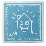 ENESCO Life Lessons Square Blue Glazed Ceramic Tea Trivet