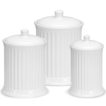 OmniWare Simsbury White Stoneware Canister, Set of 3