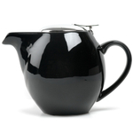 OmniWare Teaz Black Stoneware Lillkin 40 Ounce Teapot with Stainless Steel Mesh Infuser