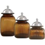 Artland Amber 3 Piece Glass Canister Set with Barrington Lids