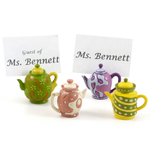 4 Piece Multicolored Teapot Name Card Holder Set