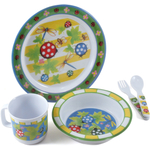 Home Essentials Kids Bugaboo Melamine 5 Piece Round Dinnerware Set