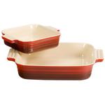 Le Creuset 2 Piece Cherry Stoneware Square Casserole Dish Set