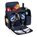 Picnic Time Malibu Navy Picnic Backpack with Blue and Grey Striped Accents