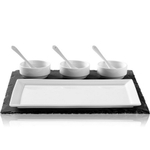 Luigi Bormioli Slate and Porcelain 8-Piece Appetizer Serving Set