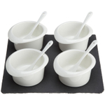 Luigi Bormioli 9 Piece Slate and Porcelain Relish and Dipping Sauce Set