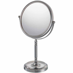 Mirror Image Chrome Double-Sided Round Recessed Base 10x Magnifying Vanity Mirror
