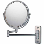 Mirror Image Chrome Double-Sided 5x Magnifying Pivot Arm Wall Mirror