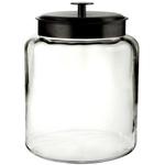 Anchor Hocking Glass Montana Jar with Black Metal Cover