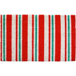 Entryways Candy Cane Stripes Holiday Theme Hand Woven Coir Doormat